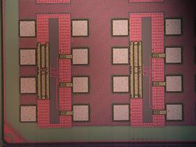 Photographie du circuit fabriqué.  © A.Cappy/Ircica-IEMN